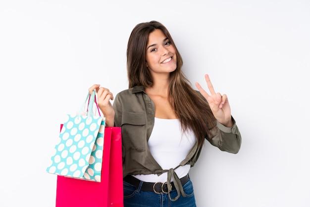 Jeune, femme, achats, sacs