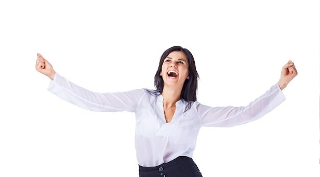 Jeune femme d'affaires attrayante et prospère, réjouissez-vous de la suc