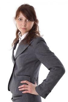 Jeune femme d'affaires en costume isolé sur blanc