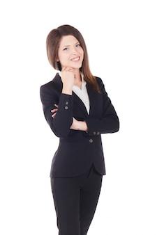 Jeune femme d'affaires - fond de studio