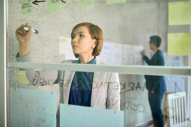 Jeune femme d'affaires fronçant les sourcils écrivant et dessinant sur un mur de verre au bureau, lorsque son collègue colle des documents sur un fond de mur
