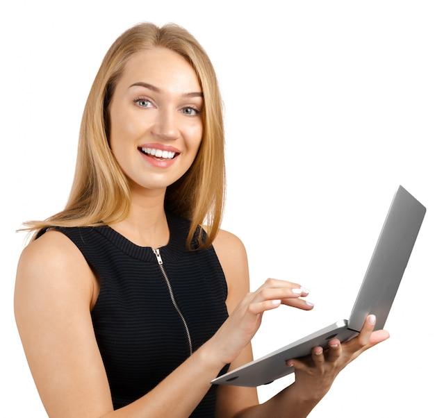 Jeune, femme affaires, ordinateur portable