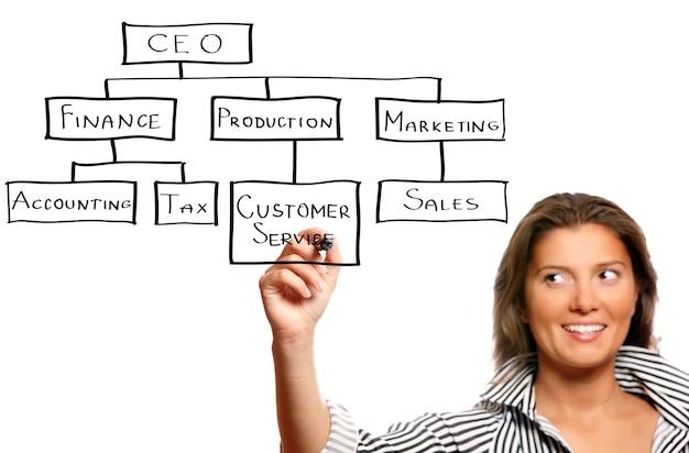Une jeune femme d'affaires présentant une hiérarchie d'entreprise sur fond blanc