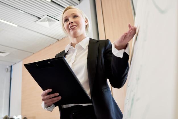 Jeune femme d'affaires présentant le projet au tableau blanc
