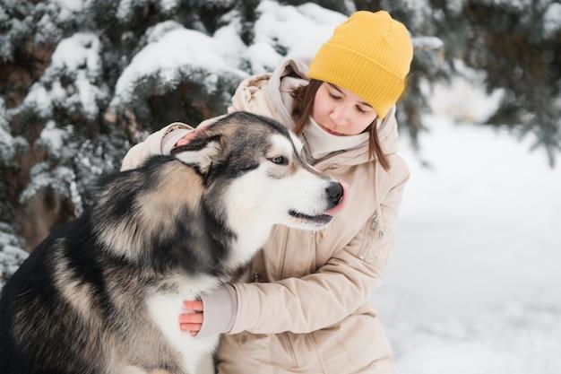 Jeune femme animal de compagnie avec amour malamute d'alaska dans la forêt d'hiver. fermer. près de l'épinette.