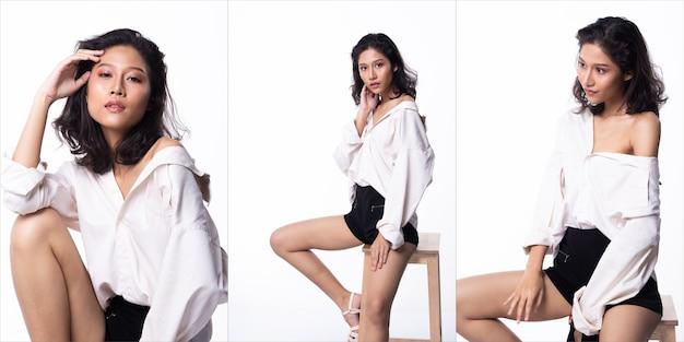 Une jeune femme asiatique en chemise blanche s'assoit sur un tabouret en bois, regarde la caméra et agit dans de nombreuses poses, des filles de mannequins dans un pack de groupe de collage sur un éclairage de studio fond blanc, espace de copie isolé