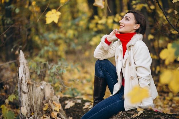 Jeune femme, automne, parc, séance, bûche