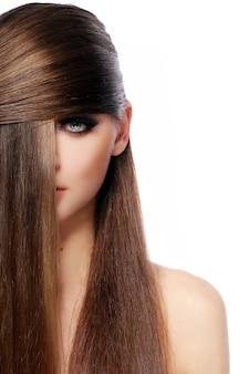 Jeune, femme, beau, cheveux