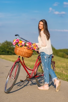 Jeune, femme, bicyclette
