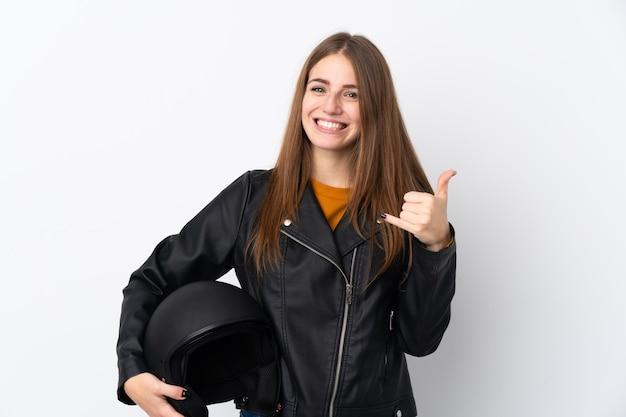 Jeune femme, à, casque moto
