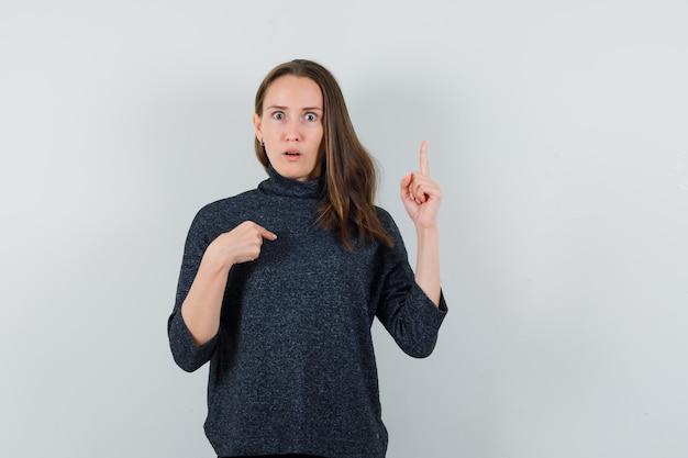 Jeune femme en chemise pointant sur elle-même et vers le haut et à la perplexité