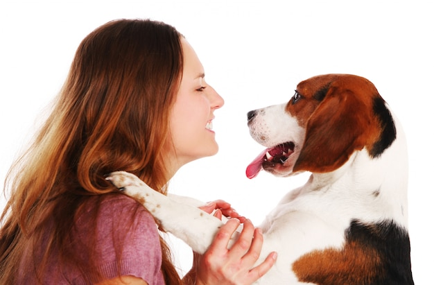 Jeune, femme, chien