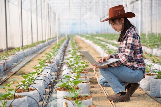 Jeune femme contrôlant une plantation