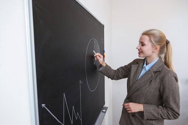 Une jeune femme dessine des graphiques au tableau