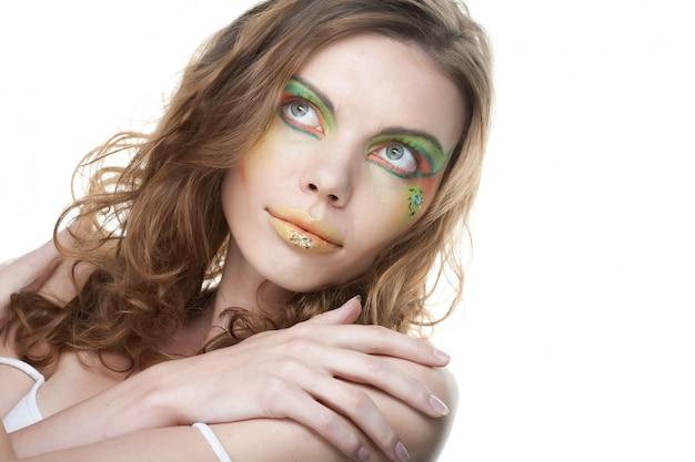 Jeune femme. fermer. maquillage créatif.