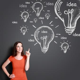 Jeune femme, à, idées