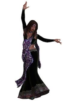 Jeune femme indienne en sari violet, illustration 3d.