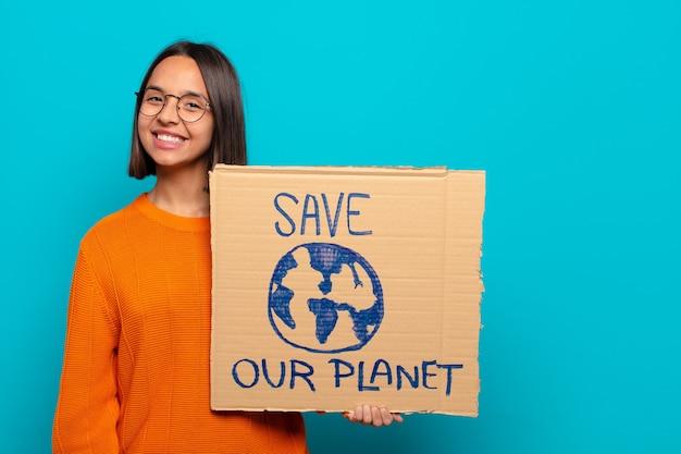 Jeune femme latine. sauver le concept du monde