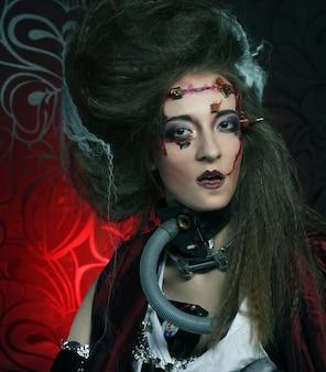 Jeune femme avec maquillage créatif. thème halloween.