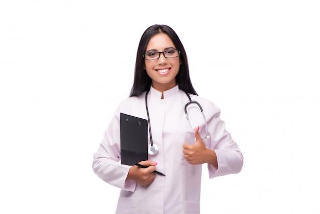 Jeune femme médecin au concept médical isolé sur blanc