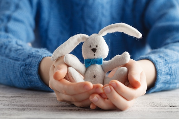 Jeune, femme, offre, soin, tenue, lapin, jouet, mains