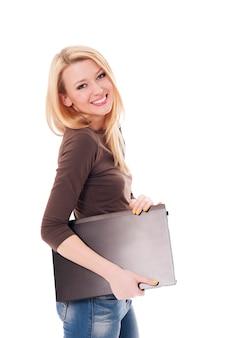 Jeune femme, à, a, ordinateur portable