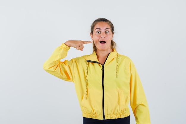 Jeune femme pointant sur sa bouche ouverte en vue de face imperméable jaune.