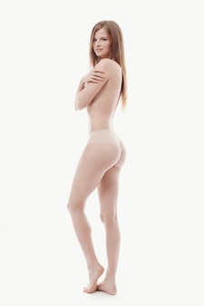 Jeune femme, poser, seins nus, peau parfaite