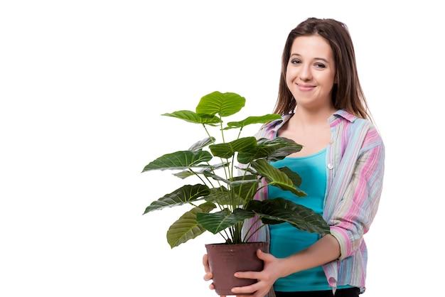 Jeune femme prenant soin des plantes isolées sur blanc