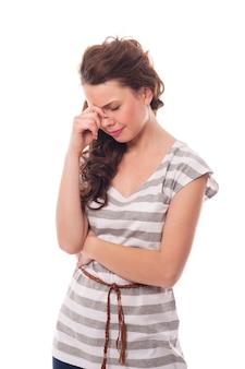 Jeune femme, à, pression sinusale