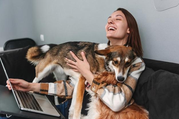 Jeune femme riante étreignant des chiens tout en travaillant sur un ordinateur portable