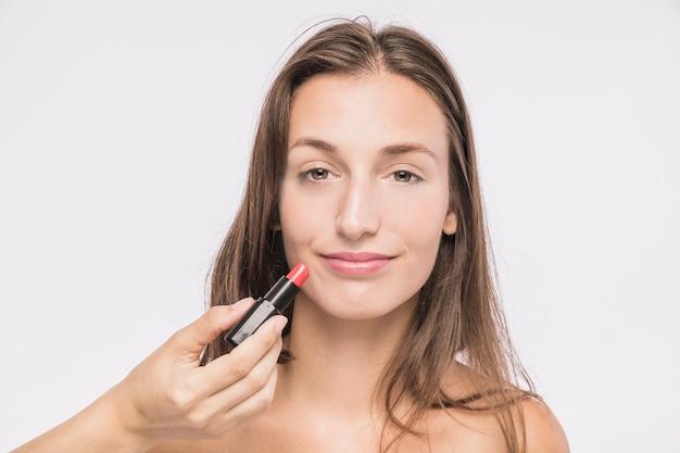 Jeune femme, à, rouge à lèvres