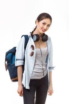 Jeune femme, à, sac à dos