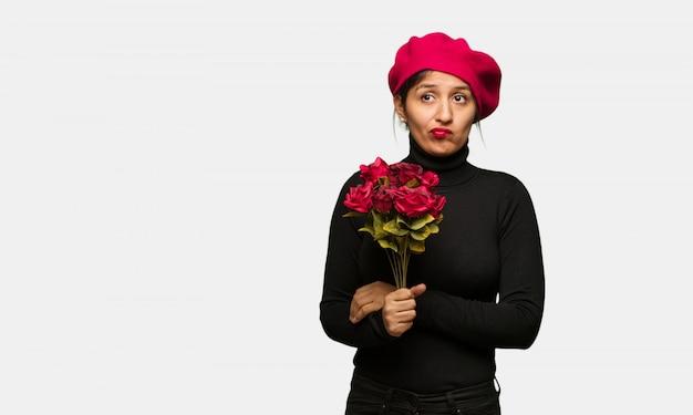 Jeune femme, saint valentin, penser, idée