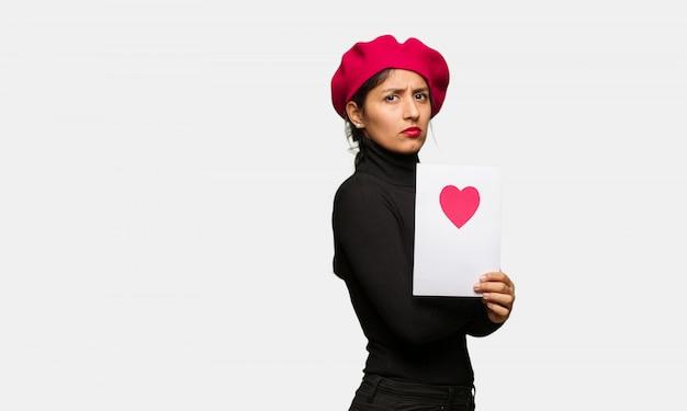 Jeune femme, saint valentin, regarder, droit, devant