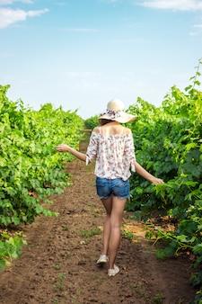 Une jeune femme se promène dans un vignoble dans une ferme viticole ou un domaine
