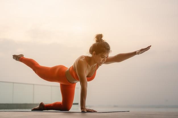 Jeune femme sportive pratiquant le yoga s'étirant dans l'exercice donkey kick bird dog pose l'entraînement