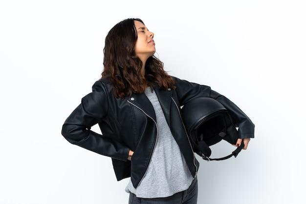 Jeune femme, tenue, a, casque moto, isolé