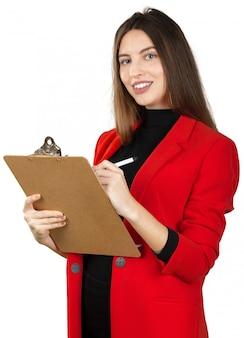 Jeune femme, tenue formelle, tenant pile, de, documents, isolé, blanc
