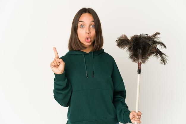 Jeune femme, tenue, a, plombier