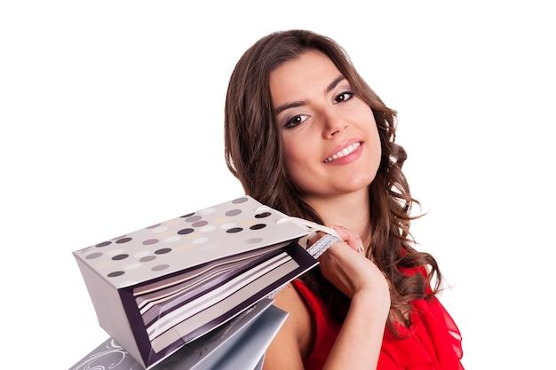 Jeune femme, tenue, sacs provisions