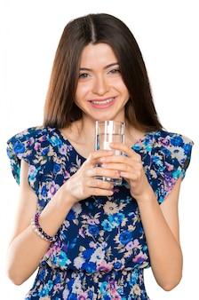 Jeune femme, verre eau