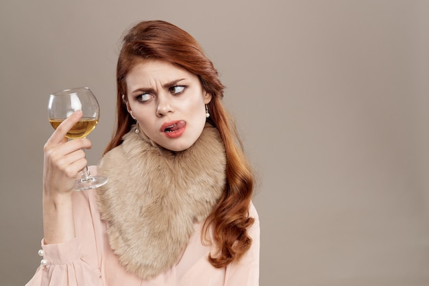 Jeune, femme, verre, vin, vendange, vêtements