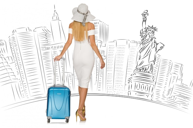 Jeune femme voyageant aux etats-unis