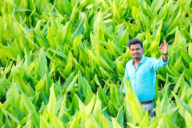 Jeune fermier indien au champ