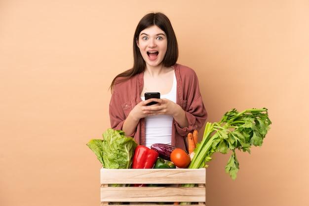 Jeune fermière avec des légumes fraîchement cueillis dans une boîte surpris et en envoyant un message