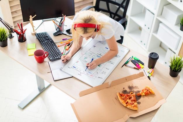 Une jeune fille au casque se tient près de la table et tient un marqueur à la main. la table est un tableau magnétique.