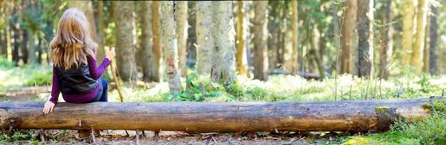 Jeune fille aux cheveux longs, assis sur un journal d'arbre dans la forêt d'automne.