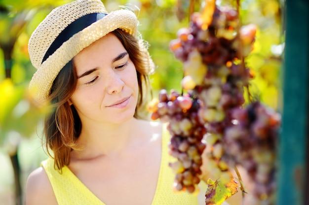 Jeune fille belle, cueillette moelleux en journée ensoleillée en italie. heureuse agricultrice travaillant dans un verger