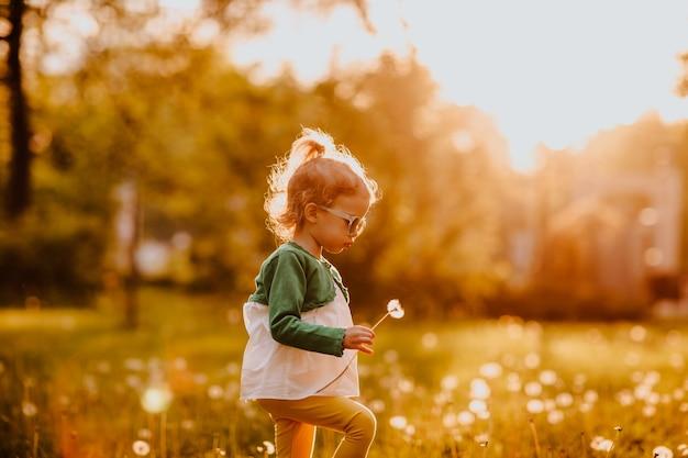 Jeune fille mignonne à lunettes de soleil marchant sur une clairière avec des pissenlits. coucher de soleil. espace de copie.